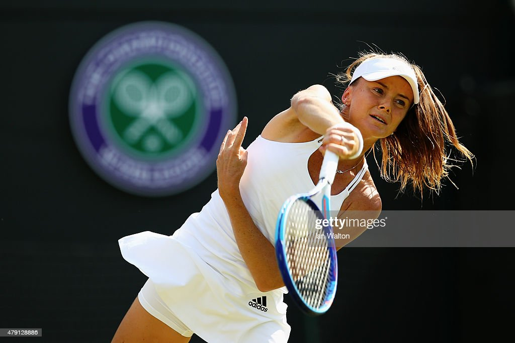 Daniela Hantuchova of Slovakia serves in her Ladies Singles Second Round match against Heather Watson of Great Britain during day three of the Wimbledon Lawn Tennis Championships at the All England Lawn Tennis and Croquet Club on July 1, 2015 in London, England.