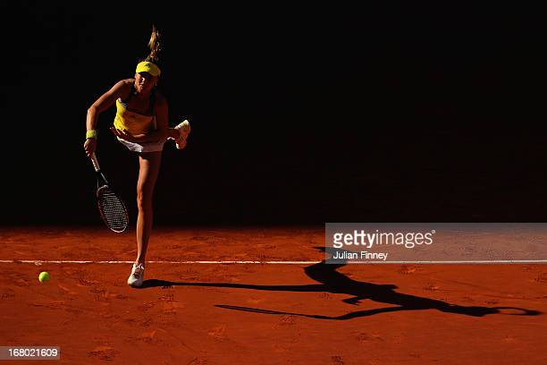 Daniela Hantuchova of Slovakia serves in her match against Sloane Stephens of USA during the Mutua Madrid Open tennis tournament at the Caja Magica...