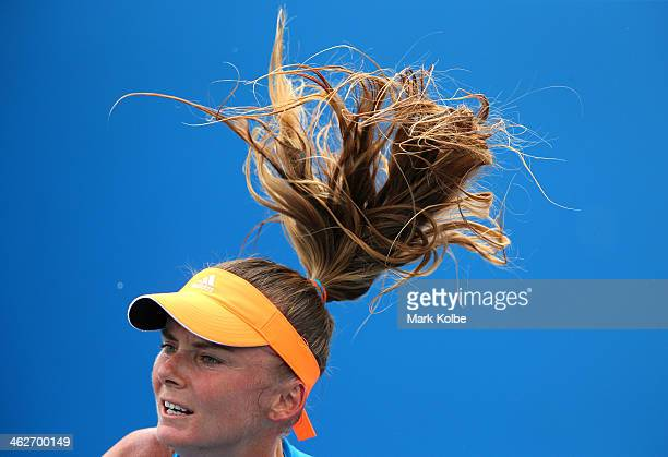 Daniela Hantuchova of Slovakia serves in her women's second round singles match against Karolina Pliskova of the Czech Republic during day three of...