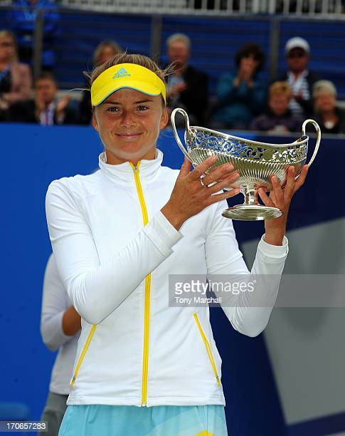 Daniela Hantuchova of Slovakia with the Maud Watson Trophy after winning the Final against Donna Vekic of Croatia during the AEGON Classic Tennis...