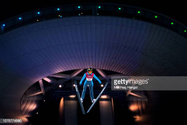 Daniela Haralambie of Romania competes during the Ladies' Normal Hill Individual Ski Jumping Final on day three of the PyeongChang 2018 Winter...
