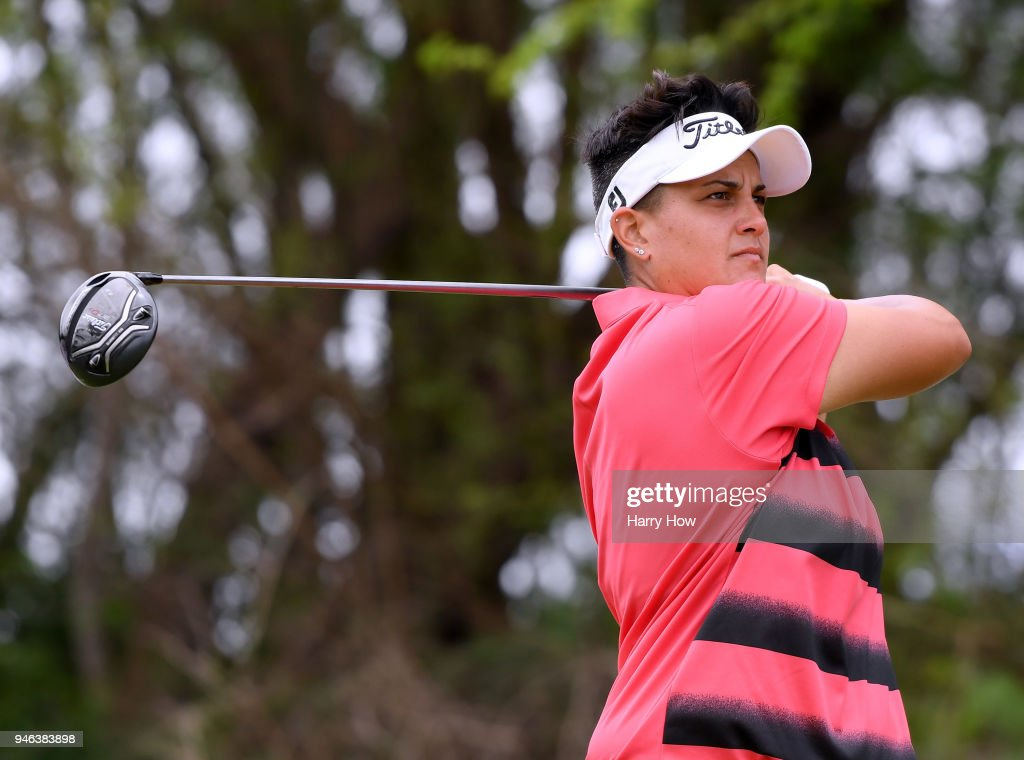 Daniela Iacobelli hits a tee shot on the fifth hole during the fourth round of the LPGA LOTTE Championship at the Ko Olina Golf Club on April 14, 2018 in Kapolei, Hawaii.