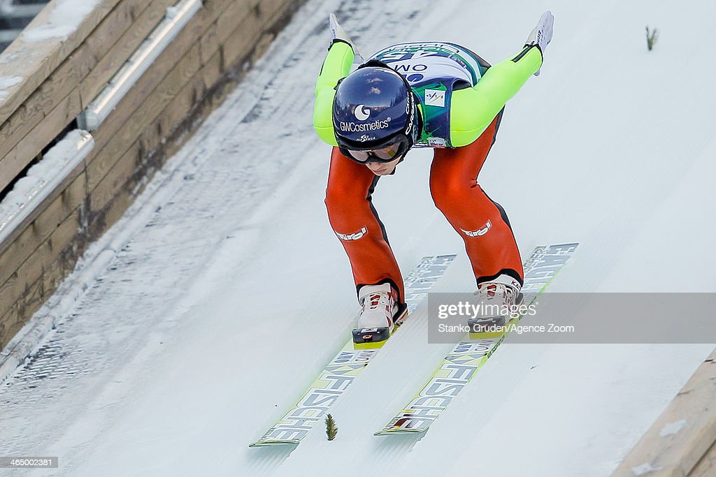 Daniela Iraschko-Stolz of Austria takes 1st place during the FIS Ski Jumping World Cup Women's HS95 on January 25, 2014 in Planica, Slovenia.