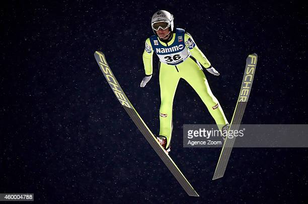 Daniela IraschkoStolz of Austria takes 2nd place during the FIS Ski Jumping World Cup Women's HS100 on December 05 2014 in Lillehammer Norway
