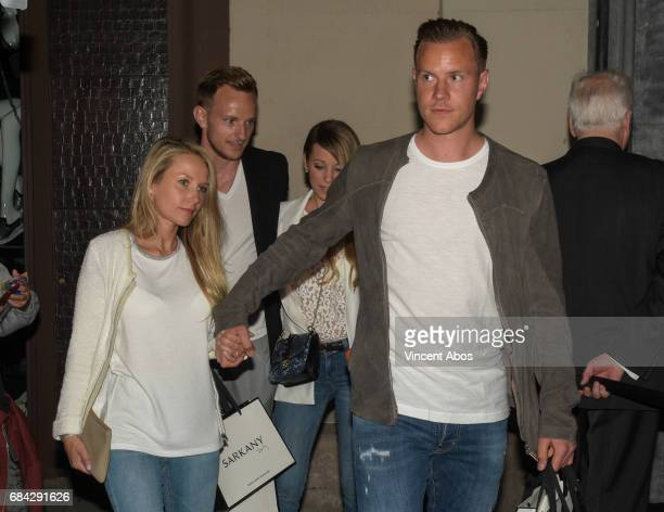 Daniela Jehle and MarcAndre ter Stegen are seen leaving the new Sarkany Boutique opening on May 17 2017 in Barcelona Spain