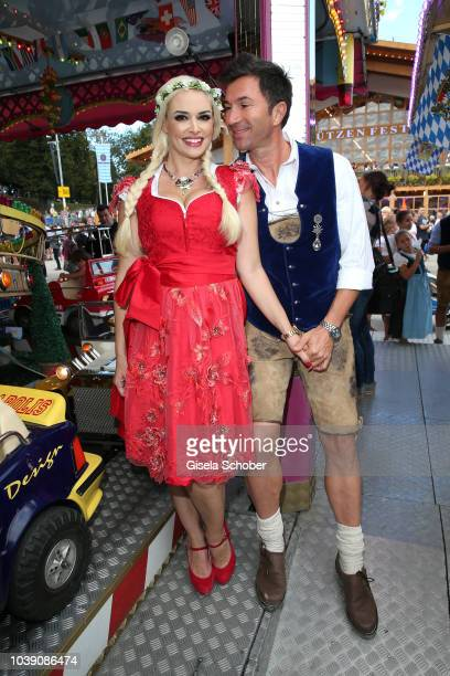 Daniela Katzenberger and her husband Lucas Cordalis attend during the Oktoberfest 2018 at Theresienwiese on September 23 2018 in Munich Germany