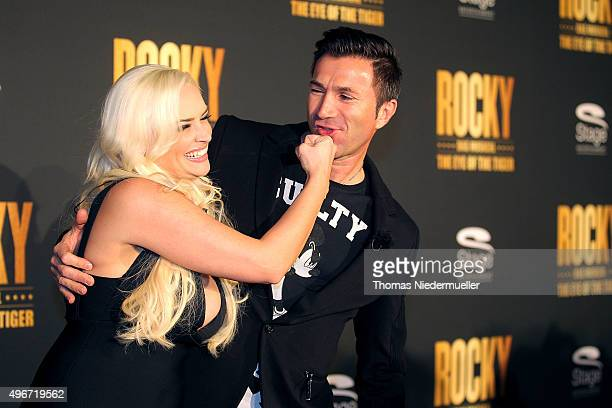 Daniela Katzenberger and Lucas Cordalis attend the black carpet prior to the premiere of the musical 'ROCKY The Musical' at Stage Palladium Theater...