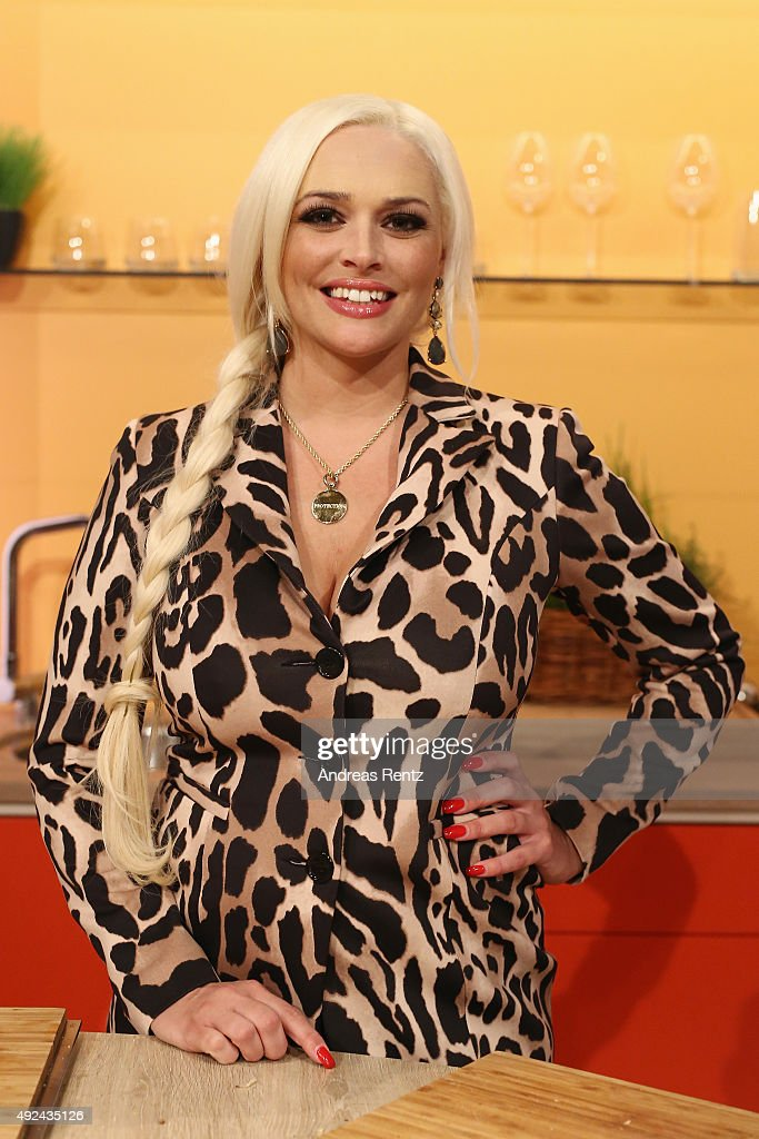 Daniela Katzenberger poses for a photograph during the launch of her new book 'Eine Tussi wird Mama' on October 13, 2015 in Duesseldorf, Germany.