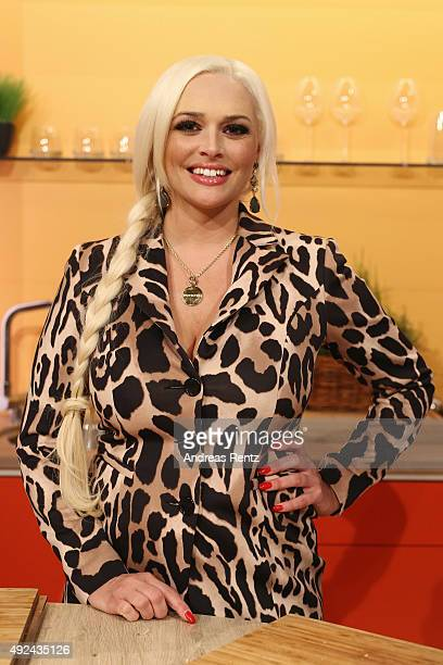 Daniela Katzenberger poses for a photograph during the launch of her new book 'Eine Tussi wird Mama' on October 13 2015 in Duesseldorf Germany