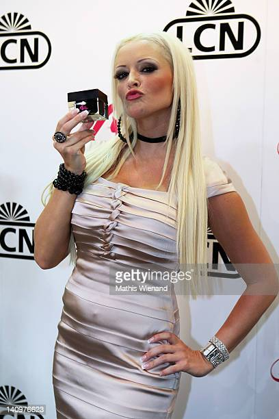 "Daniela Katzenberger promotes her new nail care products at LCN exhibition stand during the BEAUTY INTERNATIONAL"" fair at Duesseldorf Messe on March..."