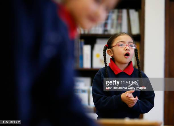 Daniela LopezMoran a first grader counted during class Thursday at Risen Christ School January 22 2015 Minneapolis MN] Jerry Holt/...