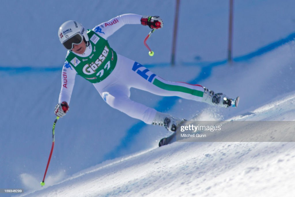 Daniela Merighetti of Italy races down the Kandahar course whilst competing in the Audi FIS Alpine Ski World Cup downhill race on January 12, 2013 in St Anton, Austria.