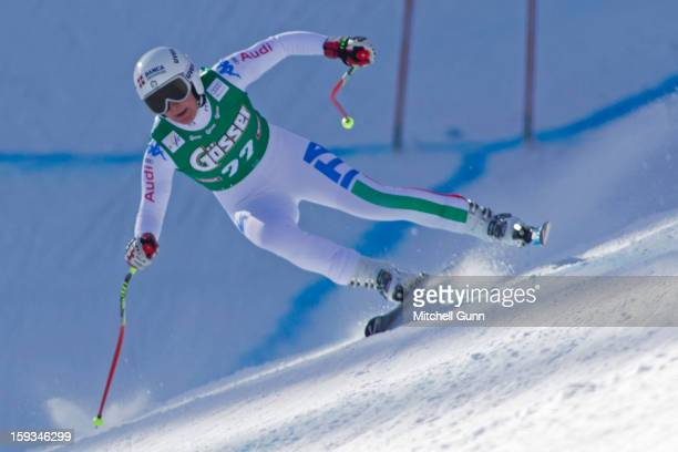 Daniela Merighetti of Italy races down the Kandahar course whilst competing in the Audi FIS Alpine Ski World Cup downhill race on January 12 2013 in...