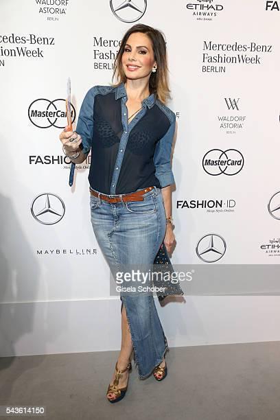 Daniela Michalski attends the Minx by Eva Lutz show during the MercedesBenz Fashion Week Berlin Spring/Summer 2017 at Erika Hess Eisstadion on June...