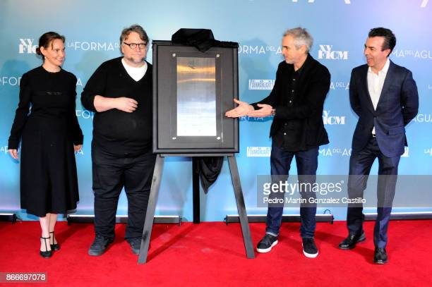 Daniela Michel Guillermo del Toro Alfonso Cuaron and Cuauhtémoc Cárdenas Batel unveil a commemorative plaque of the Festival during the red carpet of...