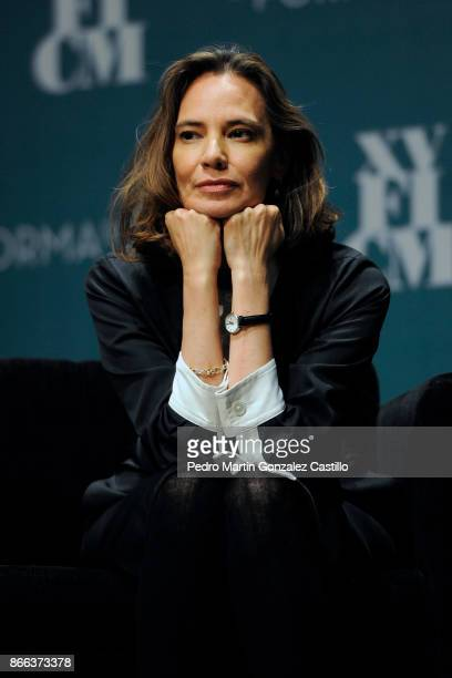 Daniela Michel President of the Morelia International Fil Festival gestures during a press conference and talk about the new movie 'The Shape of...