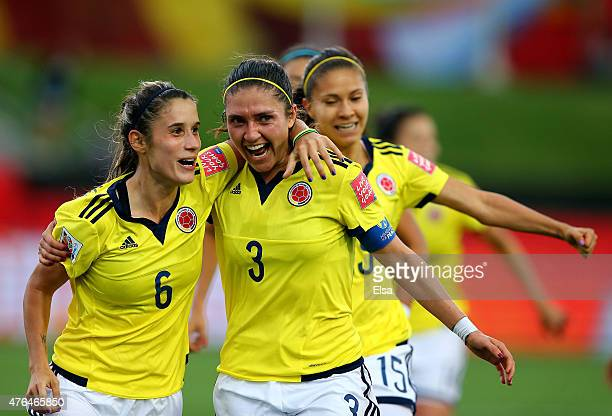Daniela Montoya of Colombia celebrates her goal with teamamte Natalia Gaitan in the second half against Mexico during the FIFA Women's World Cup 2015...