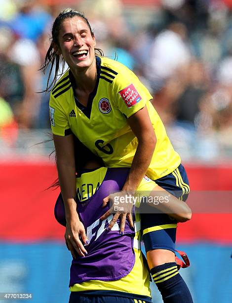 Daniela Montoya of Colombia celebrates the win over France during the FIFA Women's World Cup 2015 Group F match at Moncton Stadium on June 13 2015 in...