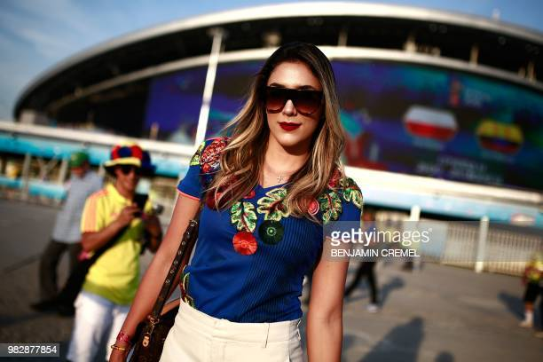 Daniela Ospina former wife of Colombian football player James Rodriguez poses as she arrives before the Russia 2018 World Cup Group H football match...