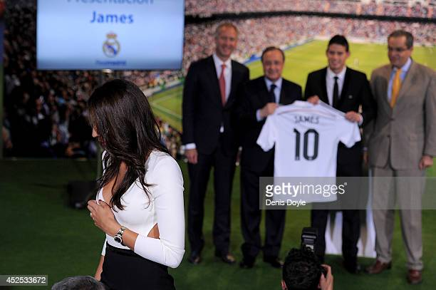 Daniela Ospina gets ready to join her husband James Rodriguez on the podium with club president Florentino during his unveiling as a new Real Madrid...
