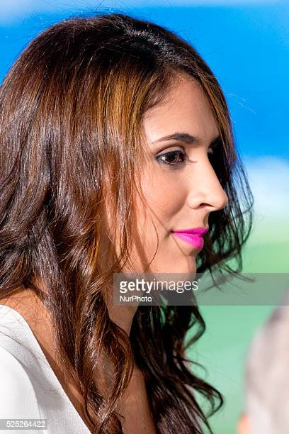 Daniela Ospina wife the James Rodriguez during his unveiling as a new Real Madrid player at the Santiago Bernabeu stadium on July 22 2014 in Madrid...