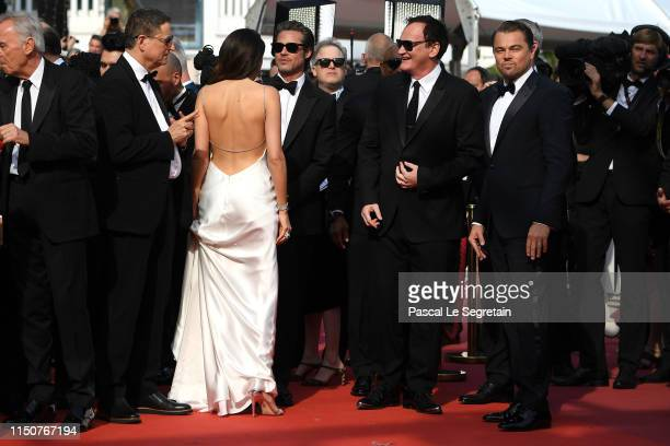 Daniela Pick Brad Pitt Quentin Tarantino and Leonardo DiCaprio attend the screening of Once Upon A Time In Hollywood during the 72nd annual Cannes...