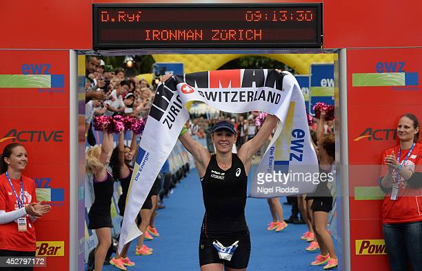 Daniela Ryf of Germany reacts after winning the womens section of Ironman Zurich on July 27 2014 in Zurich Switzerland