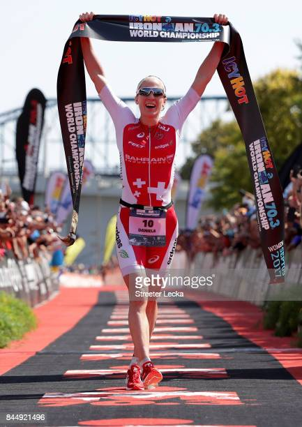 Daniela Ryf of Switzerland celebrates after winning the IRONMAN 703 Women's World Championship on September 9 2017 in Chattanooga Tennessee