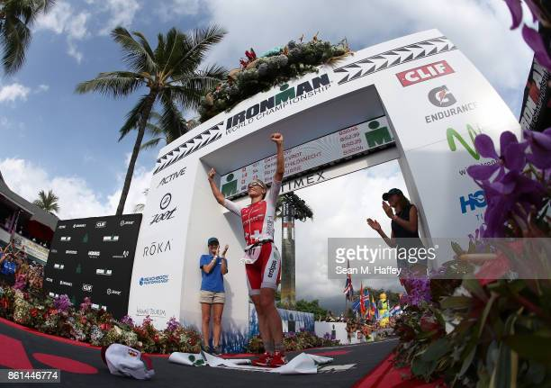 Daniela Ryf of Switzerland celebrates after winning the IRONMAN World Championship on October 14 2017 in Kailua Kona Hawaii