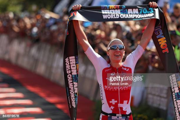Daniela Ryf of Switzerland celebrates as she wins the IRONMAN 703 Women's World Championship on September 9 2017 in Chattanooga Tennessee
