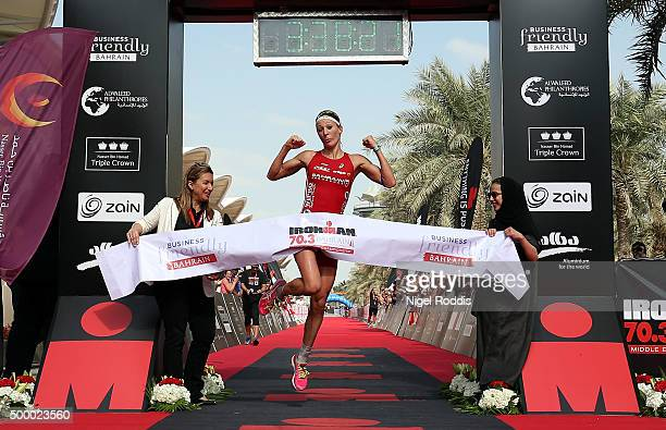 Daniela Ryf of Switzerland celebrates winning the Triple Crown and 0ne million dollars after winning Ironman Bahrain on December 5 2015 in Bahrain...