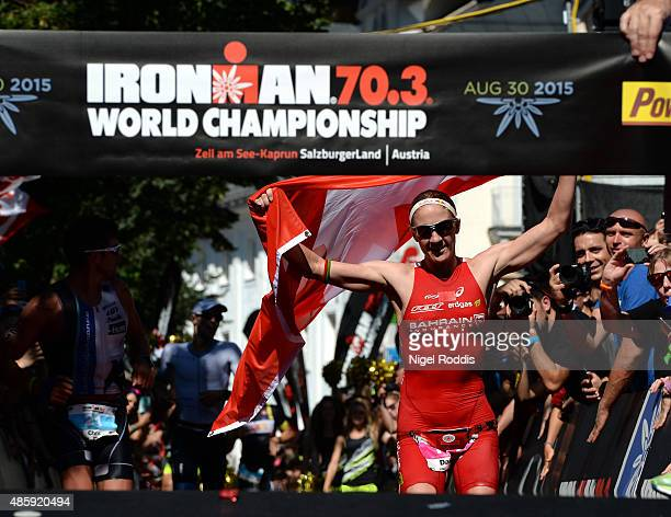 Daniela Ryf of Switzerland celebrates winning the womans race of Ironman 703 World Championship on August 30 2015 in Zell am See Austria