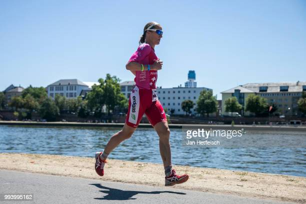Daniela Ryf of Switzerland competes during the run leg at the Mainova IRONMAN European Championship on July 8 2018 in Frankfurt am Main Germany