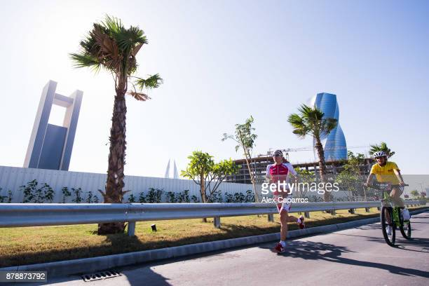 Daniela Ryf of Switzerland competes during the run leg of IRONMAN 703 Middle East Championship Bahrain on November 25 2017 in Bahrain Bahrain
