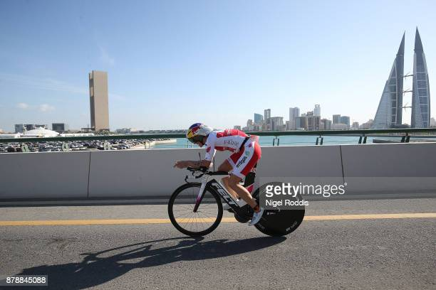 Daniela Ryf of Switzerland competes in the bike section of the Ironman 703 Middle East Championship Bahrain on November 25 2017 in Bahrain Bahrain