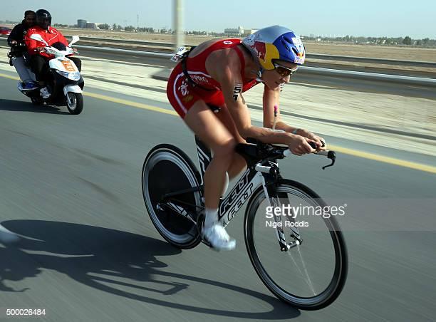 Daniela Ryf of Switzerland during the bike section of Ironman Bahrain on December 5 2015 in Bahrain Bahrain
