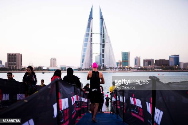 Daniela Ryf of Switzerland prepares ahead of IRONMAN 703 Middle East Championship Bahrain on November 25 2017 in Bahrain Bahrain