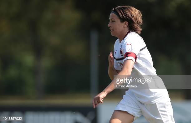Daniela Sabatino of AC Milan celebrates after scoring the opening goal during the Serie A match between AC Milan Women and Fiorentina Women at Campo...