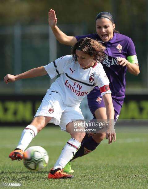 Daniela Sabatino of AC Milan scores the opening goal during the Serie A match between AC Milan Women and Fiorentina Women at Campo Sportivo Vismara...