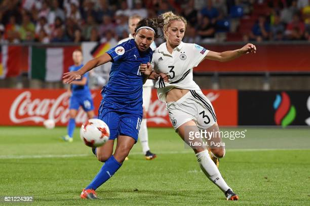Daniela Sabatino of Italy and KathrinJulia Hendrich of Germany fight for the ball during the UEFA Women's Euro 2017 Group B match between Germany and...