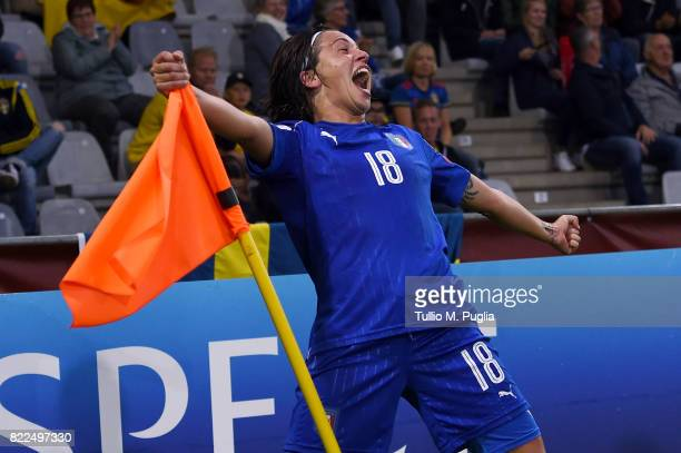 Daniela Sabatino of Italy celebrates after scoring her second goal during the UEFA Women's Euro 2017 Group B match between Sweden and Italy at...