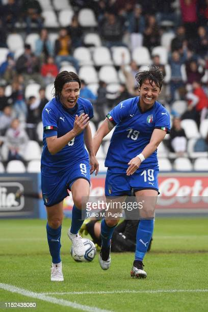 Daniela Sabatino of Italy celebrates after scoring her team third goal during the International Friendly match Italy Women and Switzerland Women at...