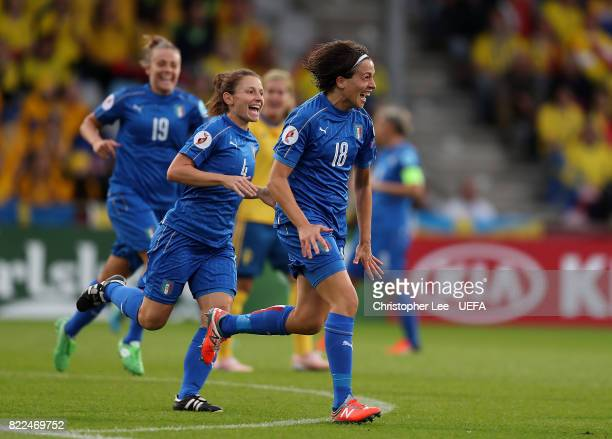 Daniela Sabatino of Italy celebrates after scoring the opening goal of the game during the UEFA Women's Euro 2017 Group B match between Sweden and...