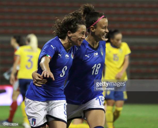 Daniela Sabatino of Italy celebrates with her teammate Barbara Bonansea after scoring the opening goal during the International Friendly match...