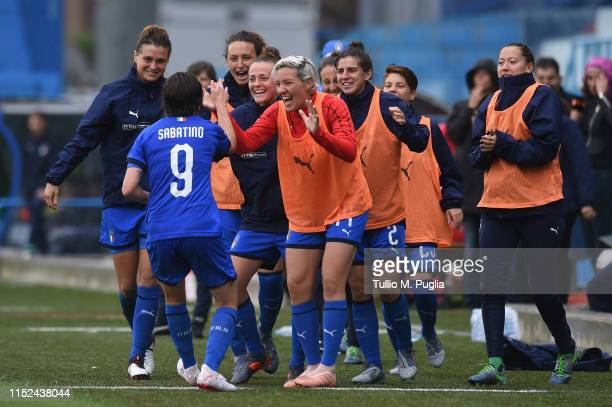 Daniela Sabatino of Italy celebrates with teammates after scoring her team third goal during the International Friendly match Italy Women and...