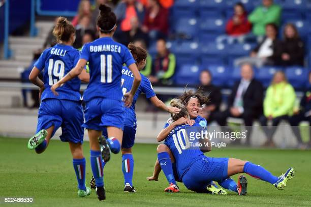 Daniela Sabatino of Italy celebrates with teammates after scoring the opening goal during the UEFA Women's Euro 2017 Group B match between Sweden and...