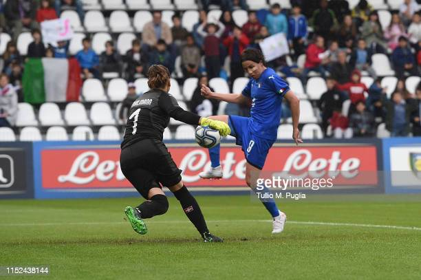 Daniela Sabatino of Italy scores her team third goal during the International Friendly match Italy Women and Switzerland Women at Stadio Paolo Mazza...