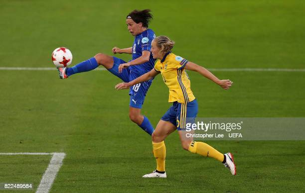 Daniela Sabatino of Italy scores her team's second goal of the game during the UEFA Women's Euro 2017 Group B match between Sweden and Italy at...