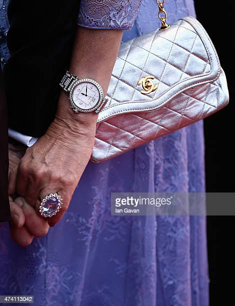 Daniela Santanche handbag and jewelry detail attends the Premiere of 'Youth' during the 68th annual Cannes Film Festival on May 20 2015 in Cannes...