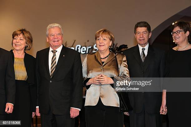 Daniela Schadt Joachim Gauck Angela Merkel and her husband Prof Joachim Sauer Eva Vosskuhle during the opening concert of the Elbphilharmonie concert...